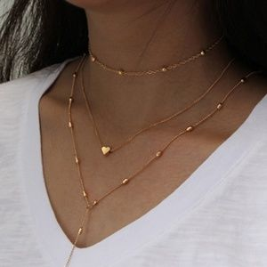 Jewelry - Gold Three Layer Choker Heart Lariat  **HP**